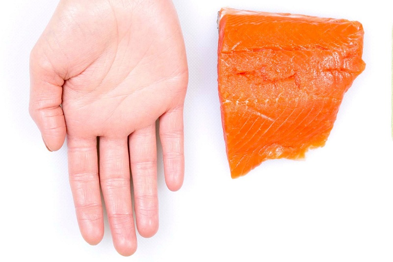 An ideal portion of meat or fish is what fits in the palm of your hand
