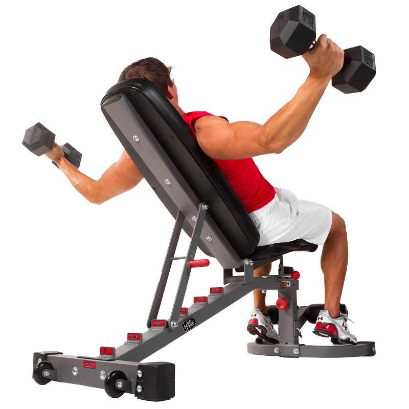 Elevation of straight legs in declined bench with a dumbbell
